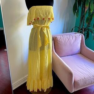 Marysia yellow off the shoulder strapless maxi